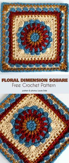 Floral Dimension Square for Spring and Fall Crochet Motifs, Granny Square Crochet Pattern, Crochet Blocks, Crochet Squares, Crochet Granny, Crochet Stitches, Free Crochet, Knit Crochet, Granny Squares