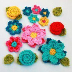 Crochet Pattern - Flower Shower (4 flowers embellishments and leaves)
