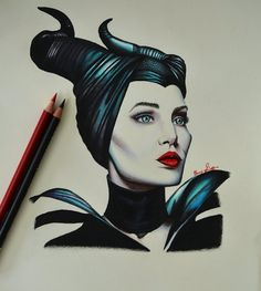 Maleficent Drawing by CorySimpson Art