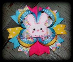 Adorable Easter boutique bunny hair bow chevron by tootoocute4you