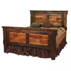 Rustic Walnut and Barnwood Bed | Rustic Bedroom Furniture | Cabin Decor