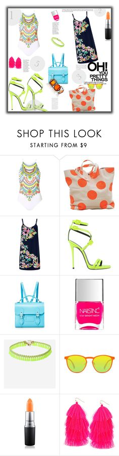 """""""THE TURN ON THE LYTE CHIC{K}"""" by g-vah-styles ❤ liked on Polyvore featuring Topshop, Monsoon, Giuseppe Zanotti, The Cambridge Satchel Company, Nails Inc., GlassesUSA, MAC Cosmetics and Humble Chic"""