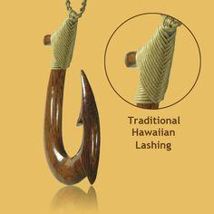 Ancient Hawaiian Fish Hooks | Carved Hawaiian Koa Wood Fish Hook Necklace, 'Koa La'au
