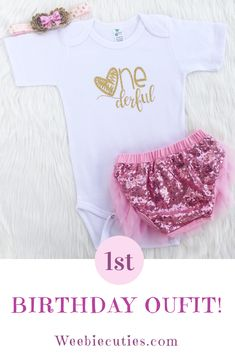 5e93e8eb11363 Adorable baby girl first birthday outfit. Baby girl smash cake outfit. Cute  Birthday Outfits. Weebie Cuties