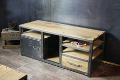 Meuble TV Industriel bois métal avec étagères et tiroir - MICHELI Design