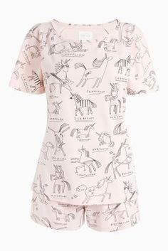 d583102cd7 Womens Next Pink Unicorn Cotton Short Set. Matching children s style  available Machine washable. Pyjama Top and Pyjama Bottom Cotton.