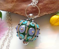 LinaFIRE | Lampwork - Lampwork Bead changeable pendant - love the way you can change the bead on this pendant!