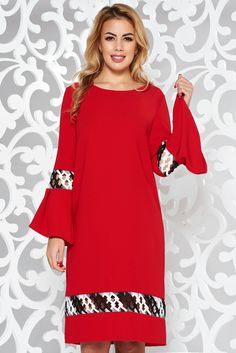 StarShinerS red elegant flared dress slightly elastic fabric with embroidery details Product Label, Flare Dress, Soft Fabrics, Bell Sleeves, Fashion Dresses, Cold Shoulder Dress, Tunic Tops, Glamour, Embroidery