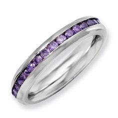 Chisel Stainless Steel 4mm February Purple CZ Ring.  Ravens Purple eternity Ring.  Sale Price $60.  Available in sizes 6-7-8-9.