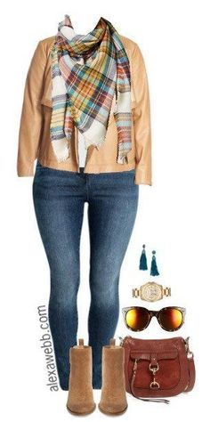 Plus Size Blanket Scarf Outfit - Plus Size Fashion for Women - alexawebb.com