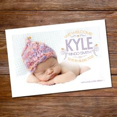 Birth announcement baby boy photo card - Modern Feather. $15.00, via Etsy.