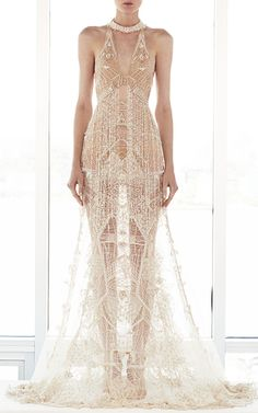 This **Jonathan Simkhai** Beaded Fringe Gown features an embellished collar…