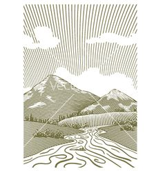 Woodcut mountain stream vector 1065524 - by blue67sign on VectorStock®