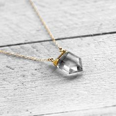 SPIRIT 14k gold filled necklace with crystal quartz by koshikira, $92.00