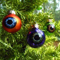 Eyeball Ornaments mini eyeballs glass ornament balls creepy decor Christmas Halloween. $18.00, via Etsy.