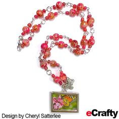 TUTORIAL: Inspired by eCrafty.com's new Watercolor Splash Arty Speckle Glass Beads, Cheryl created 2 gorgeous themed necklaces, one in pink/orange, one in blue/green along with a clickable supplies list.  For more, keep reading below! #beads #crafts #diyjewelry #handmade #etsty #ecrafty #beading #jewelrysupplies #pink #orange #summer www.eCrafty.com Summer Camp Crafts, Camping Crafts, Glass Jewelry, Beaded Jewelry, Glass Beads, Orange Necklace, Diy Necklace, Butterfly Necklace, Jewelry Supplies