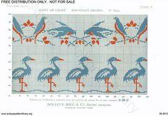 D.M.C. Point de Croix Nouveaux Dessins (1re Série) page 19. Art nouveau borders, birds and storks, blue, red