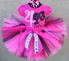 Hot Pink Barbie Girl Birthday Tutu Outfit Set