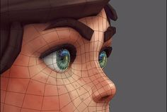 Sculpting & Texturing: Stylized Character in 3d Model Character, Character Design Girl, Character Modeling, 3d Modeling, Character Concept, Face Topology, Nose Drawing, 3d Figures, Disney Princess Pictures