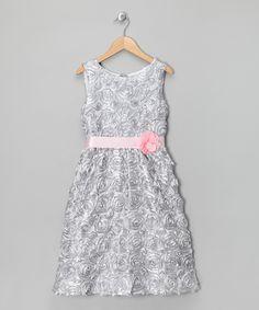 Silver Rosette Dress - Girls