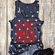 These beautiful patriotic women's 'Merica tank tops feature gorgeous stars and stripes pattern on comfortable stretch cotton blend material. Ideal fashion accessory to any casual outfit. Looks great with jeans!