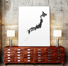 Japan Watercolor Map Art Print Japan Ink Splash by TypoWorld