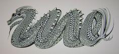 Stunning dragon using Zentangle patterns. By Margaret Bremner.