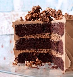 devil's food cake with hazelnut crunch (made from nutella, hazelnuts, and toasted rice cereal) .