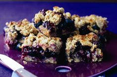 These blackberry and apple oaty flapjacks are an energy-boosting addition to the kids' lunchboxes - and yours. Get the recipe: Blackberry and apple oaty flapjacks Blackberry Pie Bars, Blackberry Recipes Uk, Tray Bake Recipes, Baking Recipes, Cake Recipes, Party Recipes, Fruit Recipes, Recipies, Cooking