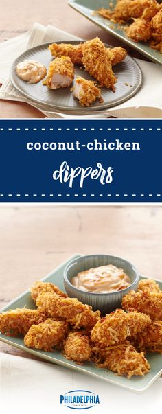 Coconut-Chicken Dippers – Pair a mayo and mango chutney with these coconut-coated chicken fingers. This recipe is the perfect casual finger food for Game Day or for your dinner table!
