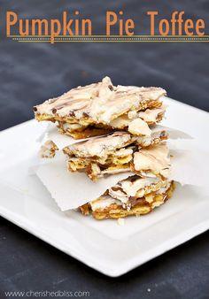 The Best Pumpkin Pie Toffee Recipe EVER via cherishedbliss.com #pumpkinpie #dessert