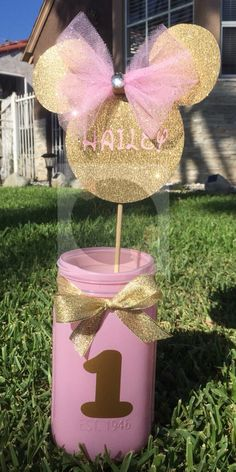 Light pink mason jar with customized mouse head centerpiece by RoxyBeeCreations on Etsy https://www.etsy.com/listing/243406649/light-pink-mason-jar-with-customized
