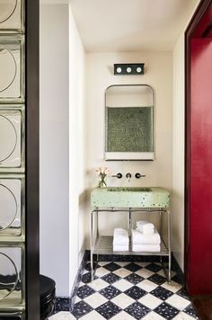 Modern home with Bath Room, Pedestal Sink, Wall Lighting, and Terrazzo Floor. Photo 3 of The Siren Hotel Hygge, Best Bathroom Colors, Architecture Design, Powder Room Design, Terrazzo Flooring, Damier, Home Trends, Beautiful Bathrooms, Modern Bathrooms