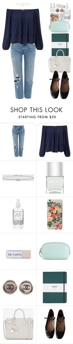 """Untitled #574"" by christinajkh ❤ liked on Polyvore featuring Levi's, Miss Selfridge, Nails Inc., Rifle Paper Co, Hadaki, Chanel, Shinola, Yves Saint Laurent and Rochas"