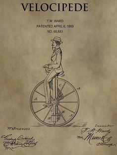 1869 Velocipede Unicycle Patent