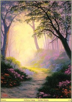 Garden Scene by Anthony Casay Fantasy Art Landscapes, Fantasy Landscape, Landscape Art, Landscape Paintings, Mystical World, Mystical Forest, Seascape Art, Art Courses, Sympathy Cards