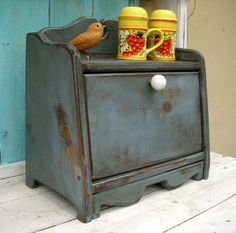 Bread Box - Shabby Kitchen - Cottage Chic - Your Antique Color choice. $90.00, via Etsy.