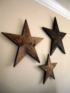Set of 3 Stained Wood Stars
