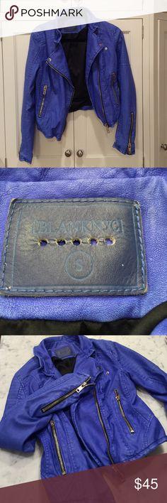 Blank NYC blue biker jacket Blue Faux leather biker jacket Blank Denim Jackets & Coats Utility Jackets