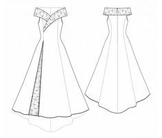 5530 Personalized Wedding Dress Pattern Bridal Gown by TipTopFitLekala Sewing Patterns - WOMEN Dresses Sewing Patterns Made to Measure and Royalty Freeexample - Wedding dress ~ very pretty Princess lines and love the collar which gives a most regal e Wedding Dress Patterns, Dress Sewing Patterns, Sewing Patterns Free, Free Sewing, Clothing Patterns, Free Pattern, Sewing Diy, Fashion Design Sketches, Technical Drawing