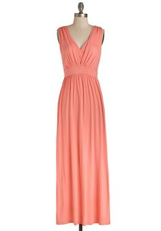 Key Largo to My Heart Dress - Knit, Long, Maxi, Coral, Solid, Casual, Beach/Resort, Sleeveless, Spring