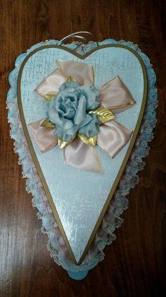 Mrs J G McDonalds Blue Teardrop Heart Vintage Candy Box Valentines Day