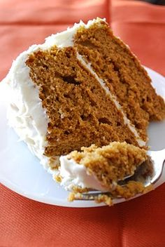 Cheat recipe: 1 can pumpkin puree, 1 box spice cake mix, 1 c. sour cream. Bake, cool, frost with 1 block cream cheese beaten with 1/2 c. butter, 1/2 c. marshmallow cream, and 4 c. powdered sugar.