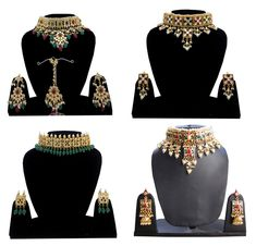 Indian Necklace Earrings Set Gold Plated Wedding Jewelry Party Wear For Women #Handmade
