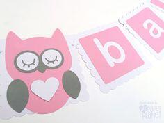 Bandera de bebé rosa y blanco con búhos. Ducha de por MyPaperPlanet