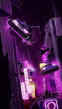 Cyberpunk de Lorean flying car hunts in the city scene in a cyberpunk environment city street, urban Cyberpunk 2077, Cyberpunk City, Arte Cyberpunk, Futuristic City, Futuristic Architecture, Architecture Design, Landscape Concept, Fantasy Landscape, Fantasy Art