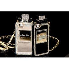 MD Rhinestone Perfume Bottle Crystal Diamond Cellphone Case with Chain Protective Cover for iPhone 6/6s/7, iPhone 6/6s/7 Plus