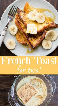 French Toast for Two! A small batch recipe for French Toast made with brioche br… French Toast for Two! A small batch recipe for French Toast made with brioche bread, a sweet custard and fresh fruit. The absolute BEST french toast recipe! Breakfast Toast, Breakfast For Dinner, Best Breakfast, Breakfast Recipes, Breakfast Casserole, Breakfast Ideas, Dessert Recipes, Best French Toast, French Toast Bake