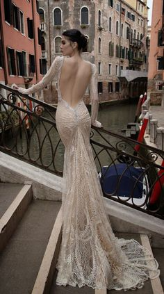 Inbal Dror 2015 Open Back Lace Mermaid Wedding Dress with Long Sleeves / http://www.deerpearlflowers.com/52-perfect-low-back-wedding-dresses/2/