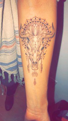 bull skull mandala tattoo